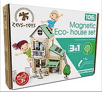Эко-конструктор на магнитах Zevs-toys Family hoyse 106 деталей 400324, КОД: 1187089