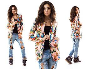 Женский пиджак неопрен с рисунком , фото 3