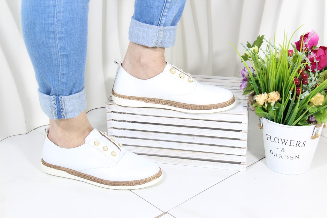 Белые кожаные мокасины Meldymoor 104-beyaz