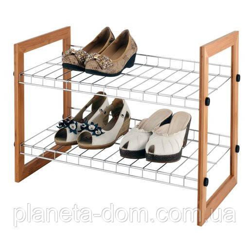 Полка для обуви 2-х ярусная хром/бамбук.