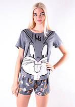 Женская хлопковая пижама ( шорты + футболка ) Кролик ( серый комплект ) Хлопок КАЧЕСТВО ТОП!!!