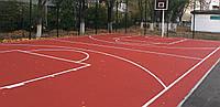 Спортивная площадка с бесшовным полиуретановым покрытием (под ключ с забором)
