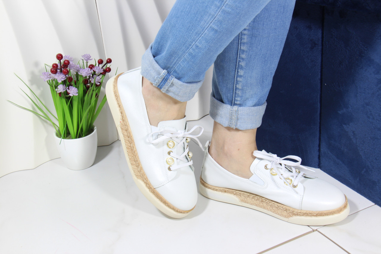Шкіряні мокасини на шнурівці Meldymoor 24T-Beyaz