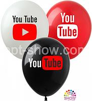 """Латексные шары SHOW 12"""" (30 см) YouTube, 10 шт"""