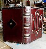 Ежедневник блокнот кожаная обложка герб тризуб ручная работа формат а5 оригинальный подарок, фото 6