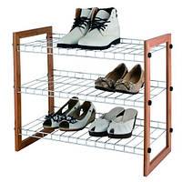 Подставка для обуви хром/бамбук.