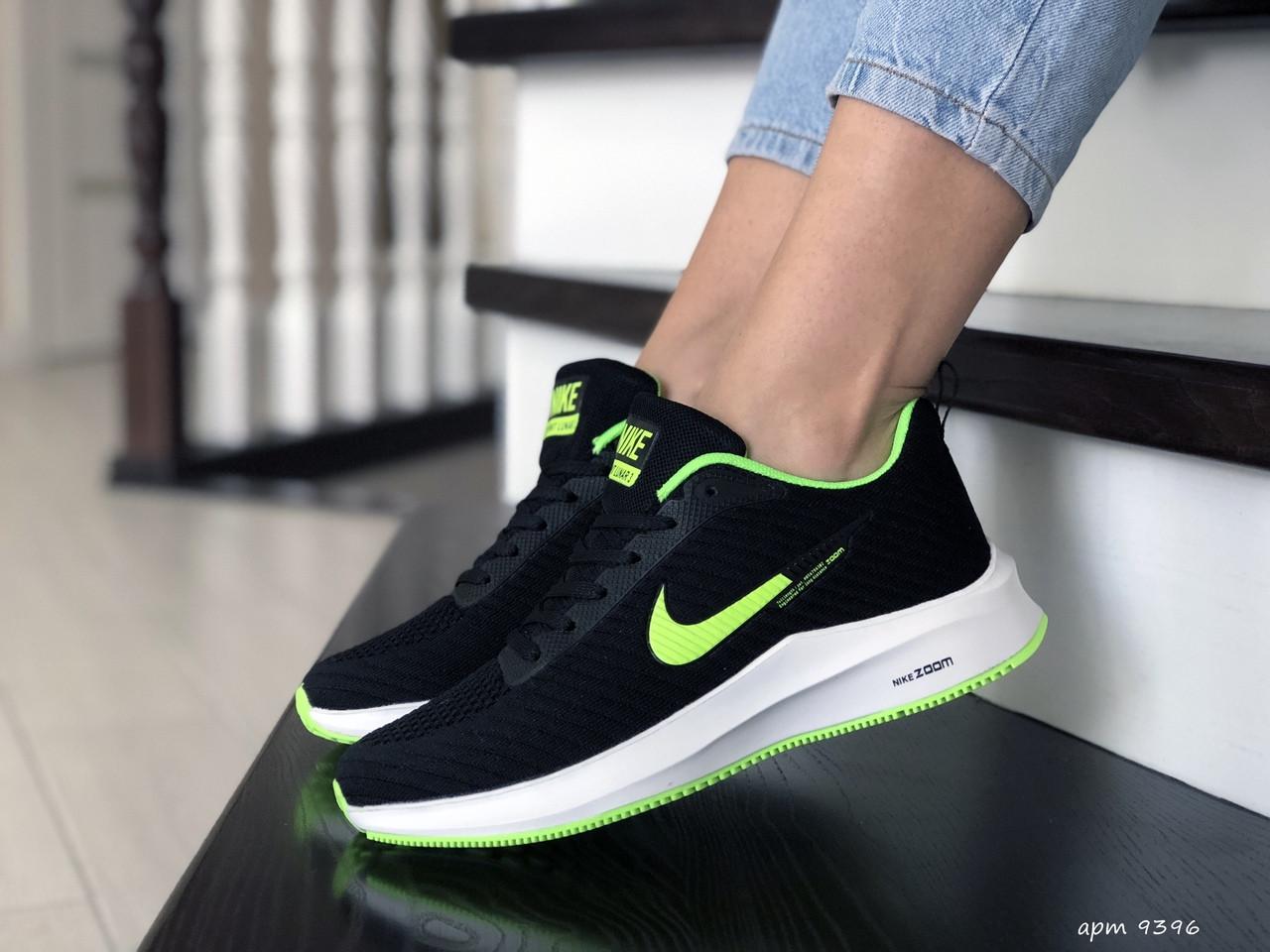 Кроссовки женские (подростковые) Nike Flyknit Lunar 3,черные с салатовым