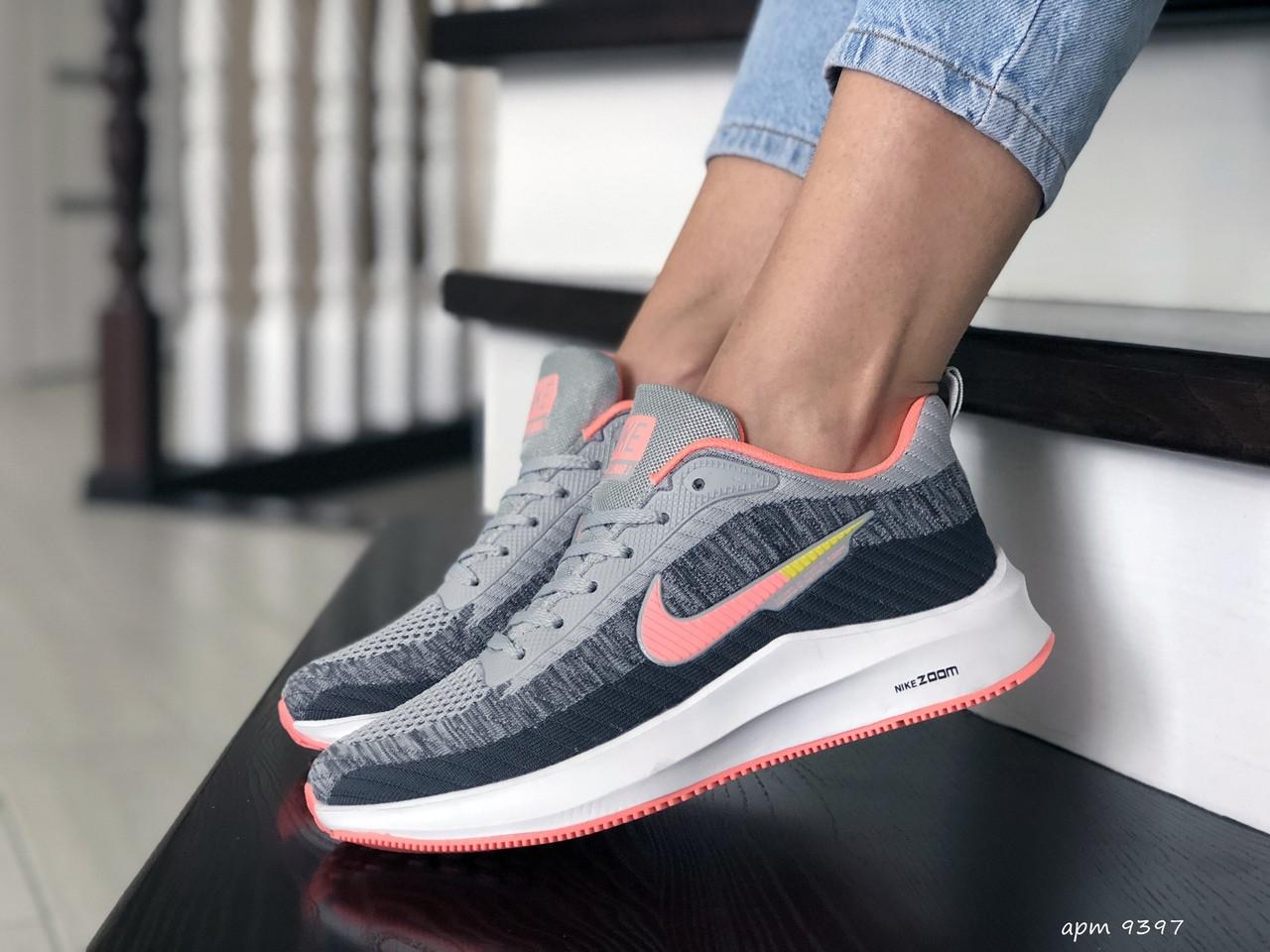 Кроссовки женские Nike Flyknit Lunar 3,серые с розовым