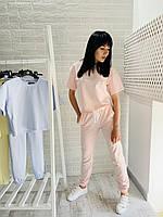 Женский летний спортивный костюм с футболкой бледно розовый