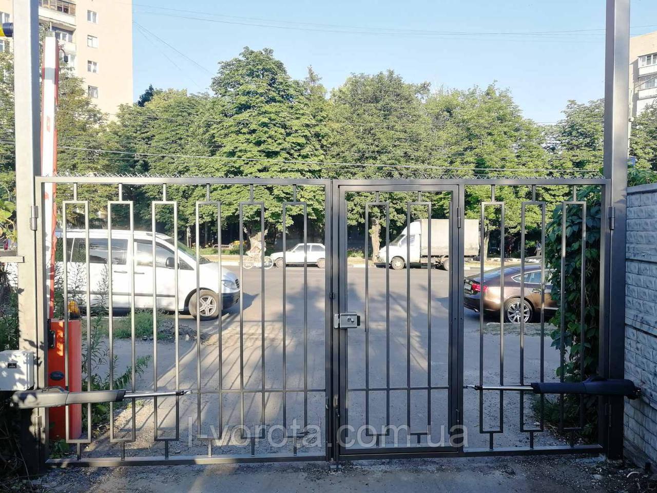 Автоматические распашные ворота 3900 * 2100 с врезной калиткой (дизайн решетка)