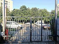 Автоматические распашные ворота 3900 * 2100 с врезной калиткой (дизайн решетка), фото 2