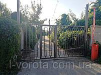 Автоматические распашные ворота 3900 * 2100 с врезной калиткой (дизайн решетка), фото 3