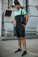 Спортивный костюм мужской летний Nike, комплект футболка поло, шорты, барсетка Nike