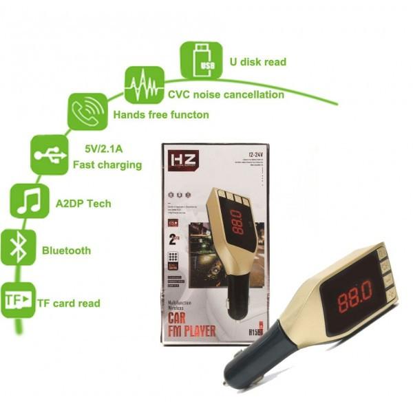 Автомобильный FM модулятор  HZ H15BT c LED дисплеем, Bluetooth, MP3