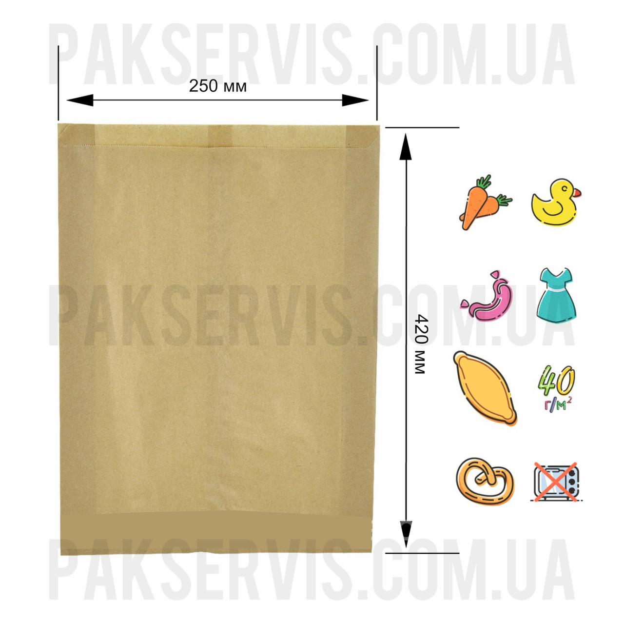 Пакет бумажный крафт 420х250х80, 1/1000