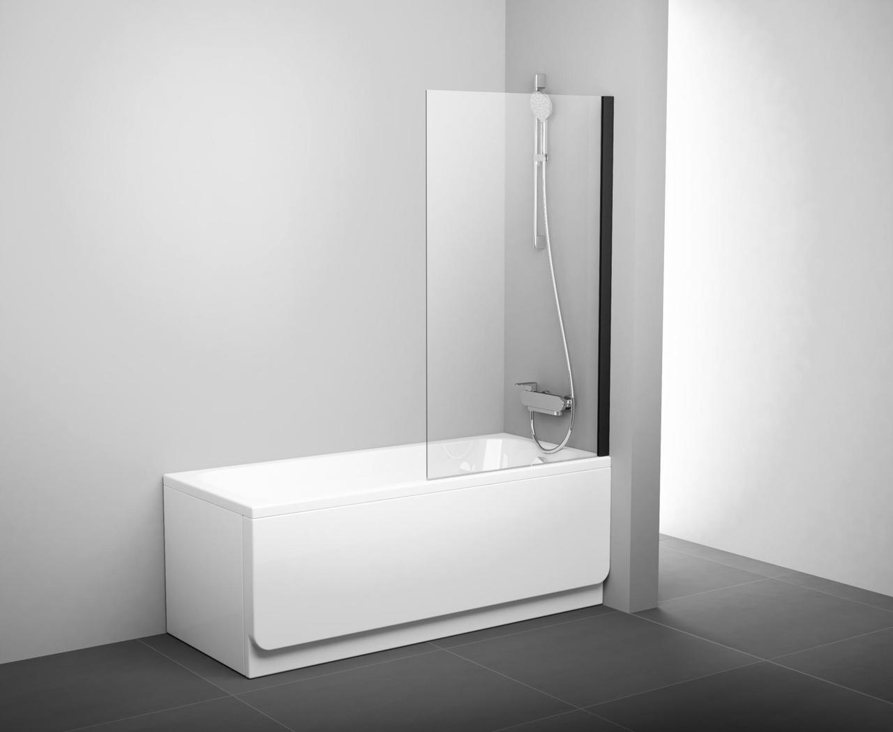 Неподвижная шторка для ванны Ravak PVS1-80 черный transparent