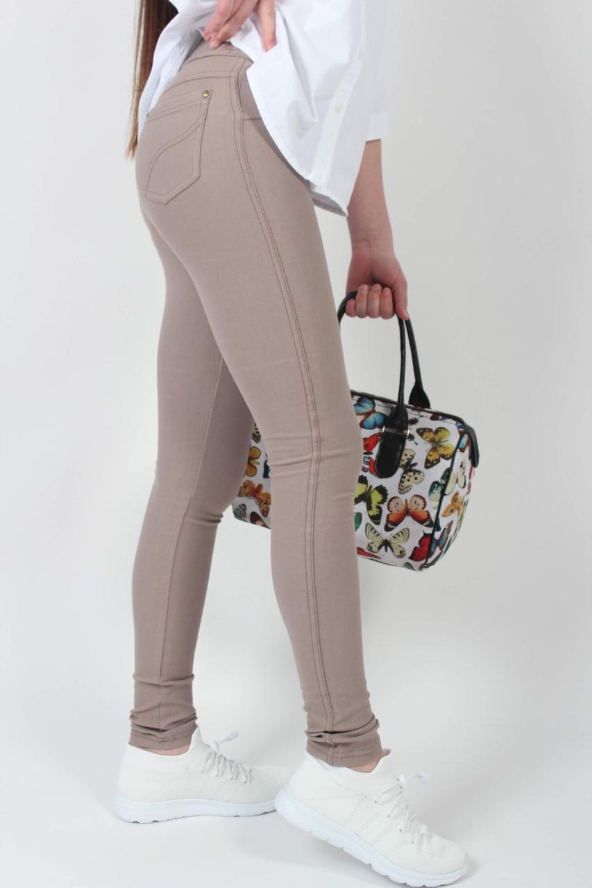 Лосины женские американка коричневые №775 стрейч котон с карманами