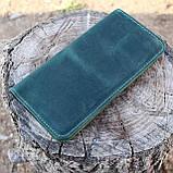 Кошелек 10 cards зеленый из натуральной кожи crazy horse, фото 10