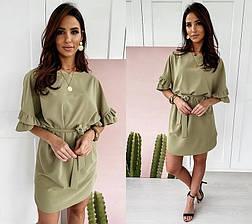 Летнее короткое свободное платье с поясом и широкими рукавами с оборками зеленое, фото 2