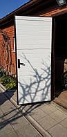 Дверь алюминиевая рама, зашивка сендвич-панель, 980×2050, цвет махагон, фото 3