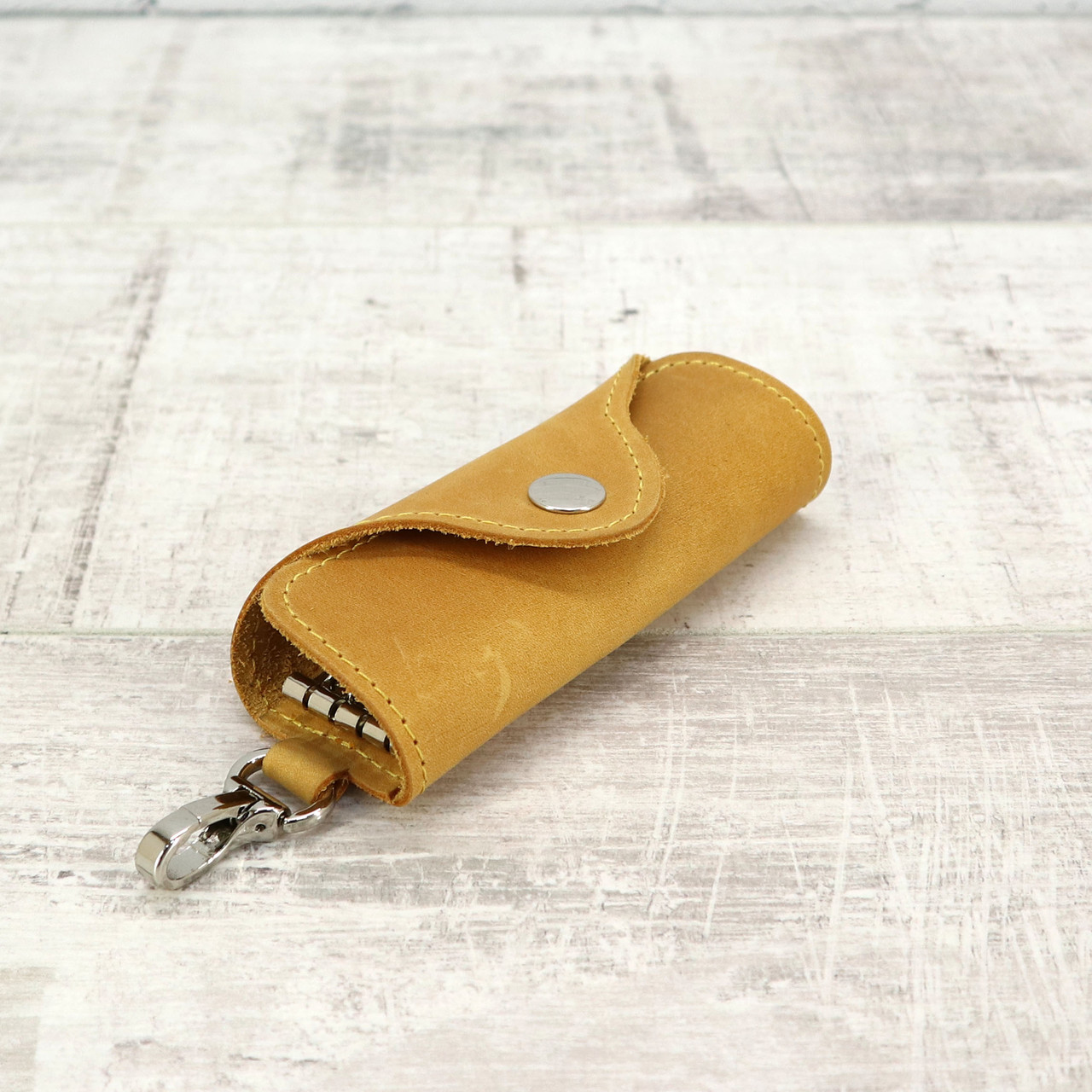 Ключница на 4 ключа 4keys желтая из натуральной кожи crazy horse
