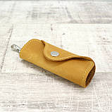 Ключница на 4 ключа 4keys желтая из натуральной кожи crazy horse, фото 2