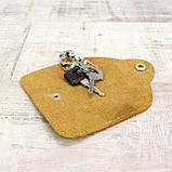 Ключница на 4 ключа 4keys желтая из натуральной кожи crazy horse, фото 4
