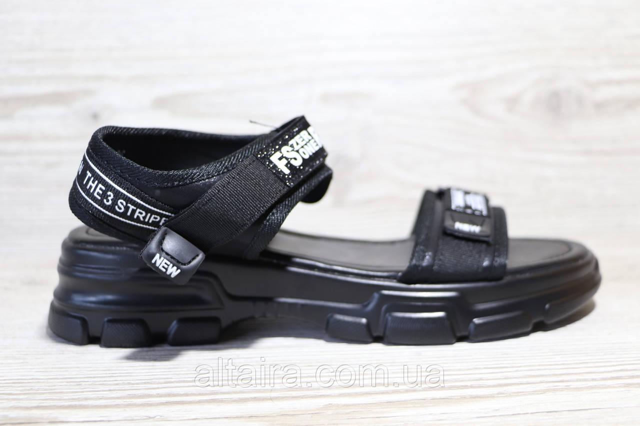 Черные женские босоножки в повседневном стиле. Размеры 36-41