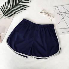 Короткі жіночі спортивні шорти без кишень блакитні, фото 3