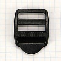 Регулятор пряжка перетяжка 25 мм пластиковая 3х щелевка чёрный для сумок a3627 (100 шт.)