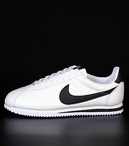 Женские кроссовки Nike Cortez Basic Leather White/Black (Найк Кортез)