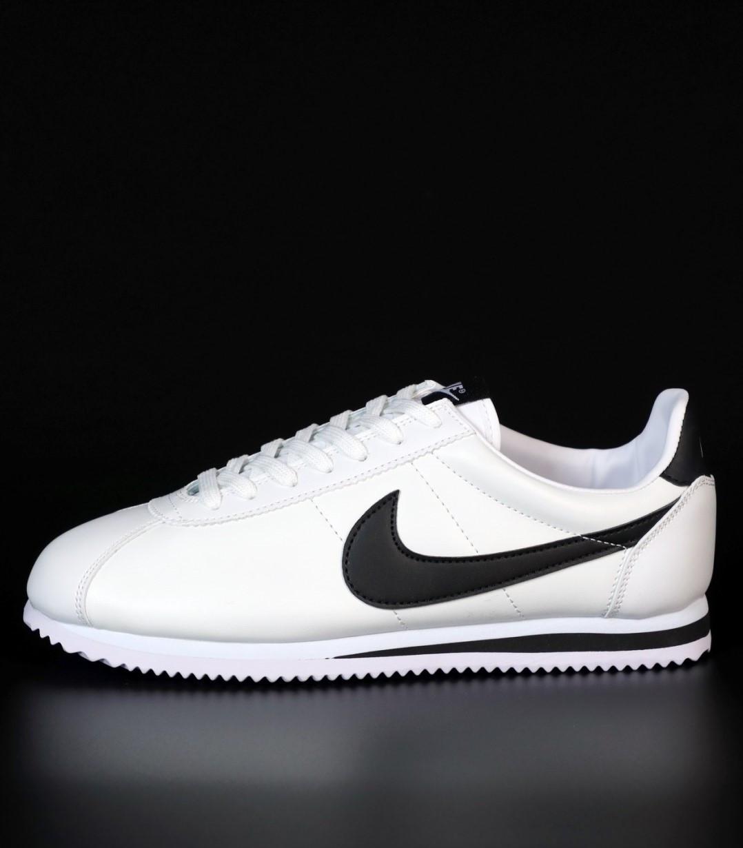 Женские кроссовки Nike Cortez Basic Leather White/Black (Найк Кортез)