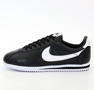 Женские кроссовки Nike Cortez Basic Leather Black/White (Найк Кортез)