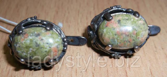 серебряные украшения с эпидотом, украшения из яшмы, серьги, перстень с эпидотом