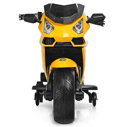 Детский мотоцикл Lamborghini Bambi M 3637EL-6 ручка газа желтый цвет, фото 2