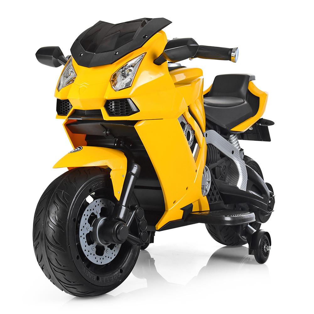 Детский мотоцикл Lamborghini Bambi M 3637EL-6 ручка газа желтый цвет