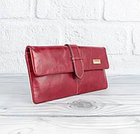 Кошелек женский кожаный JCCS 1002 красный на кнопке, фото 1