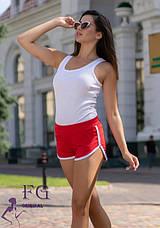 Бордові жіночі спортивні короткі шорти без кишень, фото 3