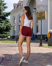 Бордові жіночі спортивні короткі шорти без кишень, фото 2
