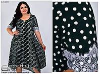 Женское летнее платье большого размера свободного кроя в горошек с кружевом Р-  56, 58, 60, 62, 64, 66