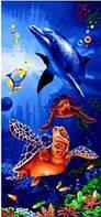 Пляжное полотенце Дельфин с черепахами