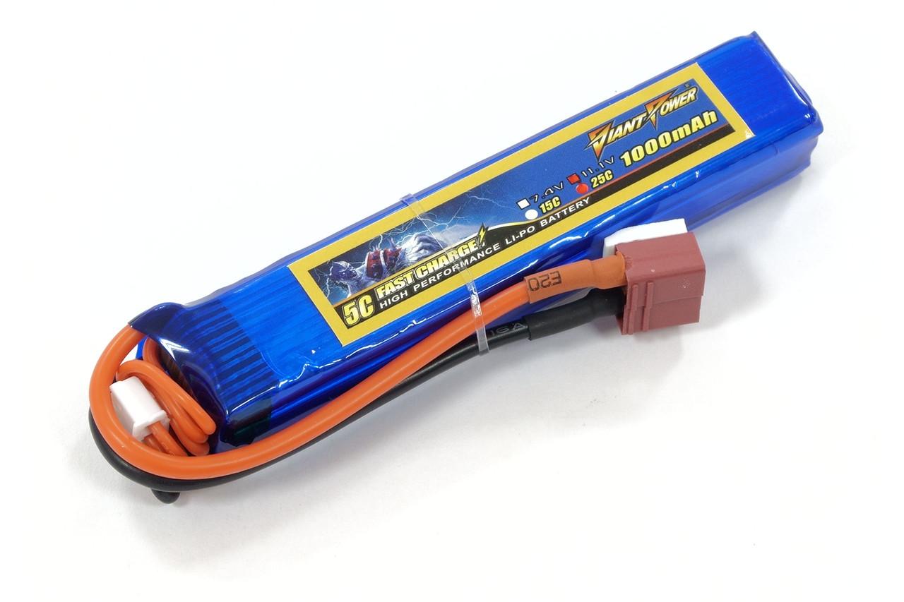 Аккумулятор для страйкбола Giant Power (Dinogy) Li-Pol 11.1V 3S 1000mAh 25C 16.5х20х103мм T-Plug