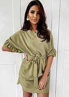 Летнее свободное платье большого размера с широкими рукавами и рюшами зеленое