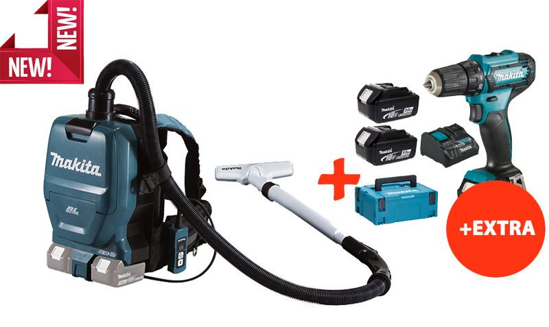 Аккумуляторный пылесос-рюкзак Makita DVC260Z+Makita DF333DNX10+акк.12V 2Ah+2 акк.18V 5Ah+з/у+Makpac