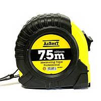"""Рулетка вимірювальна  """"Professional""""  7.5м*25мм (ABS+TPR), гачок тефлон """"AzBesT"""" (6/120)"""