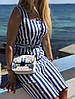 Стильное платье в полоску на пуговицах размер SM, ML, LXL синее, фото 2