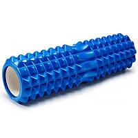 Массажный ролик (валик, роллер) CF88 45 х 13 см Ролик для йоги Синий с выемкой