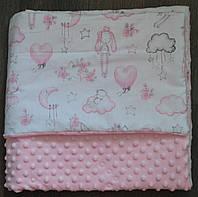 Детский плюшевый плед, в кроватку и коляску зайчики и мишки на облаках