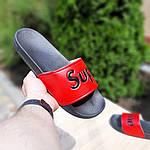 Чоловічі літні шльопанці Supreme (чорно-червоні) 4008, фото 4