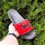 Чоловічі літні шльопанці Supreme (чорно-червоні) 4008, фото 5